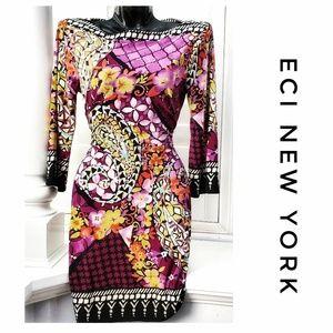 ECI NY Purple Geometric Floral Shift Dress Size 4